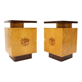 Pair of Large Mid-Century Modern Rosewood and Birdseye Maple Cabinets End Tables For Sale