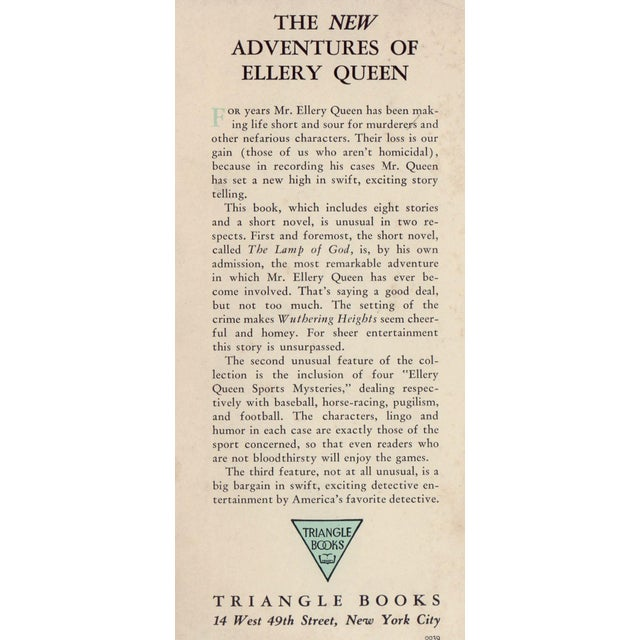 The New Adventures of Ellery Queen by Ellery Queen. New York: Triangle Books, 1941. Hardcover in dust jacket. 307 pages.