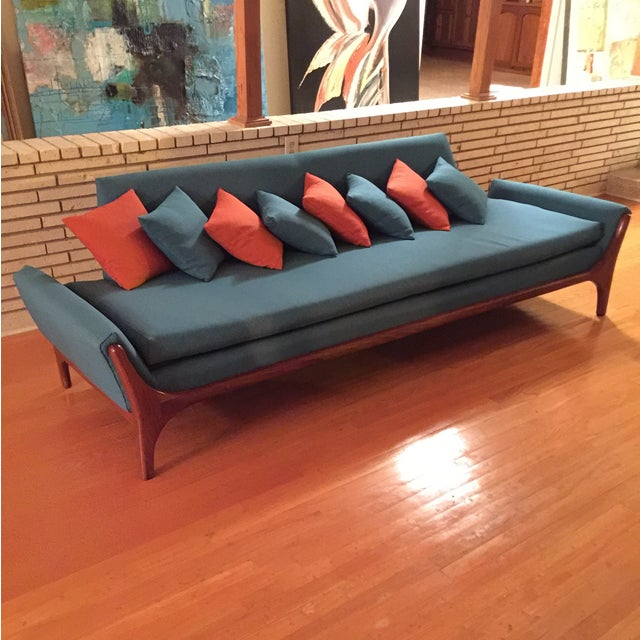 Reupholstered Danish Modern Wing Arm Sofa - Image 2 of 10