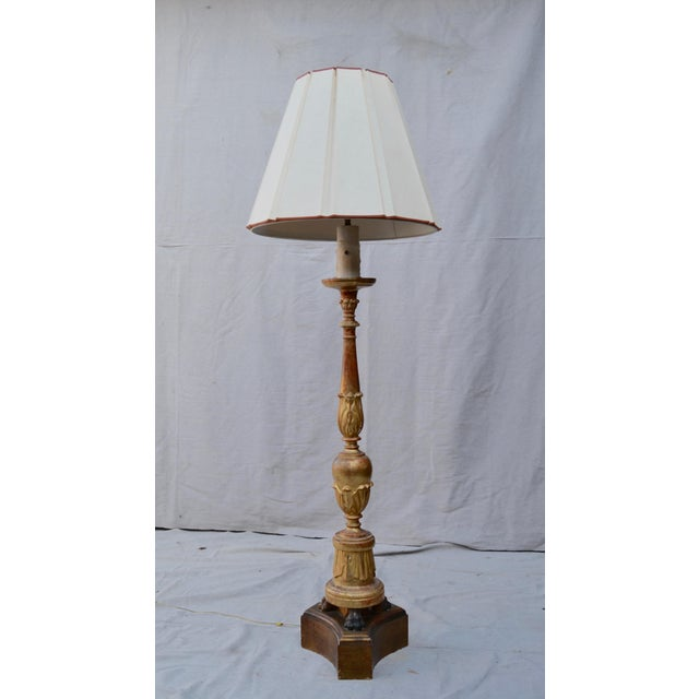 Antique Candlestick Floor Lamp For Sale - Image 9 of 9