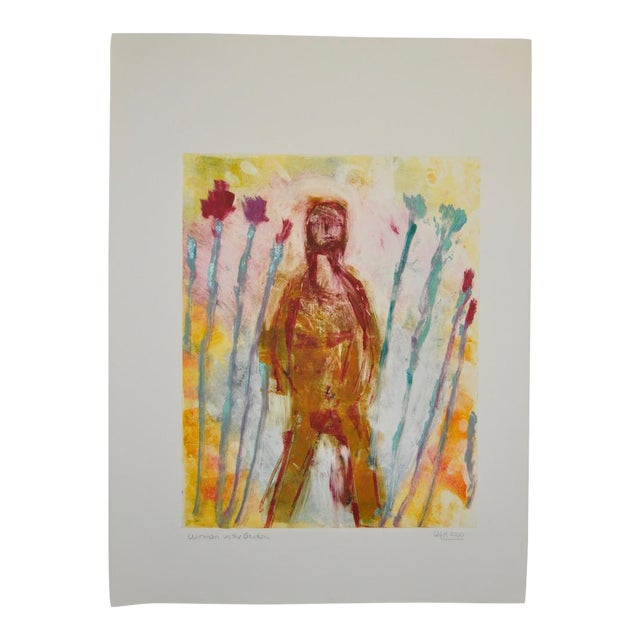 "Arthur Krakower ""Woman in the Garden"" Monotype Painting For Sale"