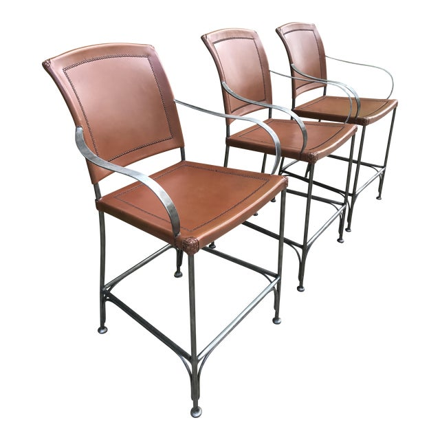 Leather and Metal Bar Stools - Set of 3 - Image 1 of 5