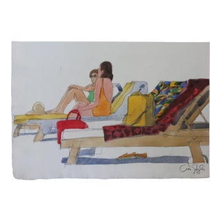 Arno Sternglass Beach Chairs Contemporary Painting For Sale