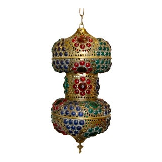 Vintage 1970s Turkish Brass Multicolor Lantern For Sale