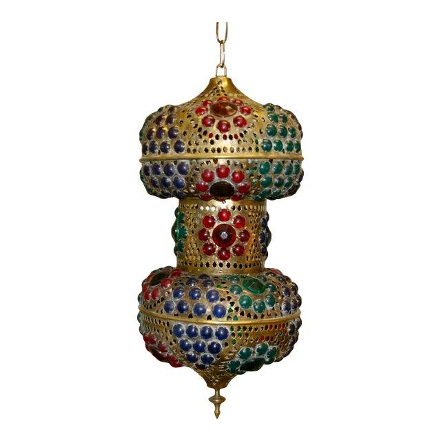 Vintage 1970s Turkish Brass Multicolor Lantern For Sale