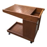 Image of 1950's Vintage Mid Century Walnut Bar Cart For Sale