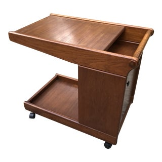 1950's Vintage Mid Century Walnut Bar Cart For Sale