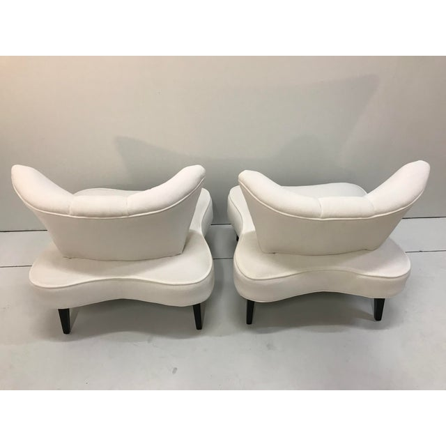 White 20th Century Pair Sculptural Art Deco Slipper Arm Less Chairs Attributed to Grosfeld House For Sale - Image 8 of 12