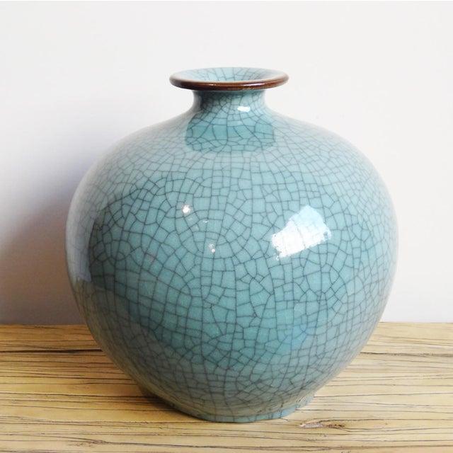 Turquoise Crackle Glazed Ceramic Vase - Image 2 of 2