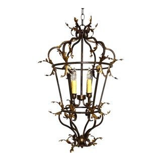 Late 20th Century Venetian Iron and Gilded Tole Foliate Hanging Lantern For Sale