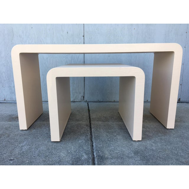 Modernist Waterfall Lacquered Linen Console and Side Table For Sale - Image 10 of 12
