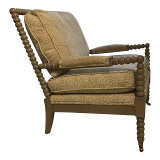 C R Laine Spool Chair With / Brunswig and Fils Cotton Velvet Pattern Textile For Sale