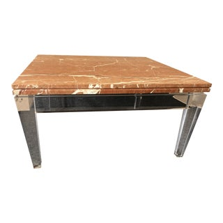 Mid-Century Modern Lucite and Marble Coffee Table For Sale
