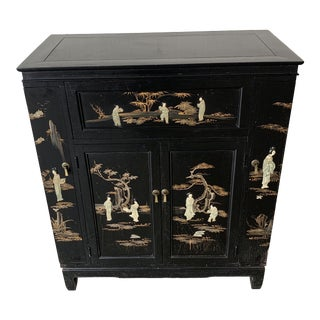 Mid Century Chinoiserie Dry Bar For Sale