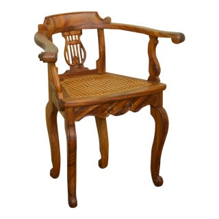Anglo Indian Solid Padauk Wood Carved Lyre Back Cane Seat Arm Chair For Sale