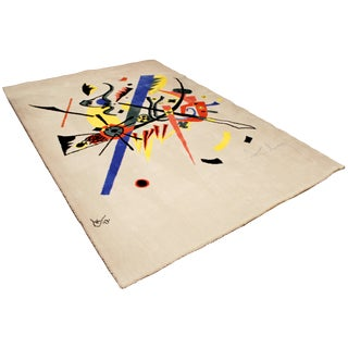1980s Vintage Abstract Kandinsky Inspired Rug - 5′11″ × 9′ For Sale