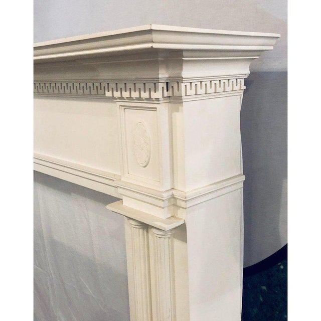 Neoclassical Monumental Hand Carved Fire Place Surrounds - a Pair For Sale In New York - Image 6 of 13