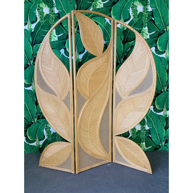 Tropical Rattan Room Divider Folding Screen For Sale - Image 10 of 12