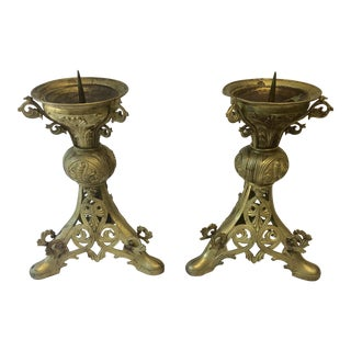 Late 19th Century Gothic Gilded Metal Candlesticks - a Pair For Sale