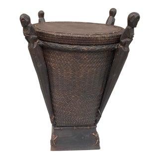 Vintage Indonesian Ketak Grass Basket With Dark Wood Fetish Spirit Figures on Wooden Stand- 2 Pieces For Sale