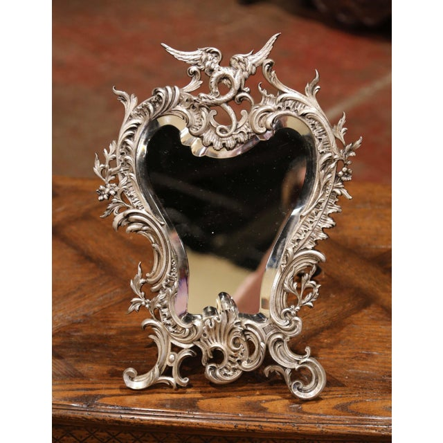 Late 19th Century 19th Century French Louis XV Silvered Bronze Free Standing Vanity Table Mirror For Sale - Image 5 of 10