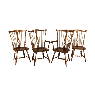 Unique Furniture Vintage Set 4 Solid Cherry Windsor Dining Chairs For Sale