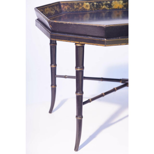 English Traditional 19th C. English Paper Mache Tray Table For Sale - Image 3 of 4