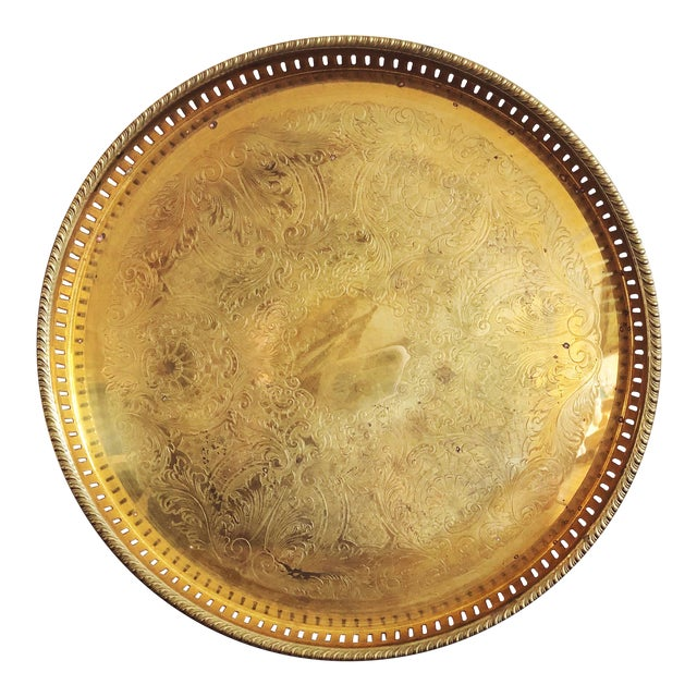 Vintage Engraved Brass Circular Tray For Sale