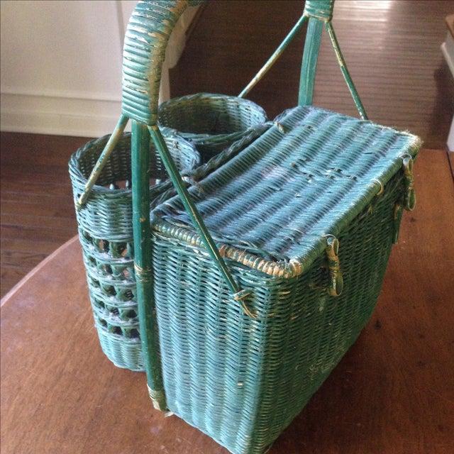 Vintage Green Wicker Picnic Basket - Image 9 of 11