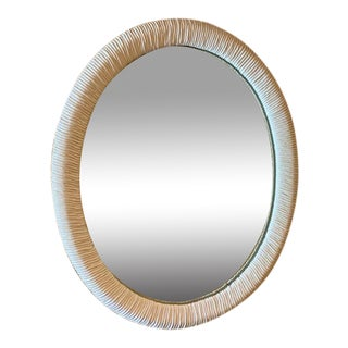 Vintage White Faux Bamboo Oval Wall Mirror For Sale