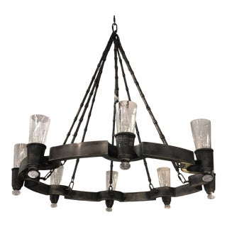 Napa Wagon Wheel Style Iron 8 Light Chandelier With Seeded Glass For Sale