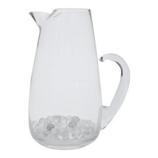 Large Glass Pitcher/Vase with Marbles