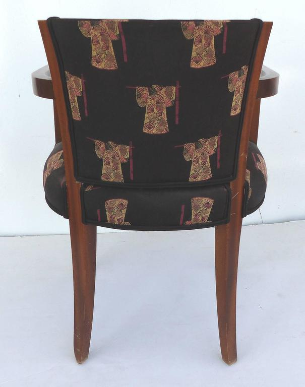 French Art Deco Chairs Upholstered In An Asian Motif, Pair For Sale   Image  4