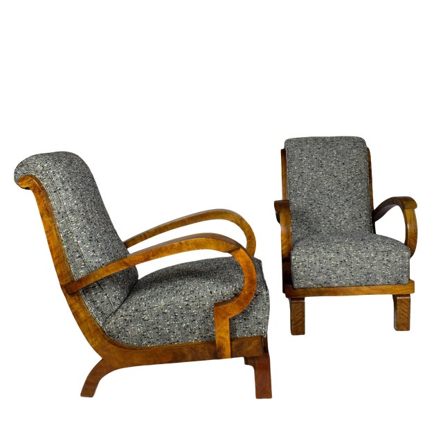 1930s Pair of Art Deco Armchairs, Walnut, Wool, Italy For Sale