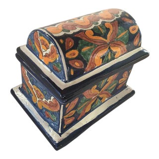Vintage Talavera Domed Lid Jewelry Chest/Box For Sale