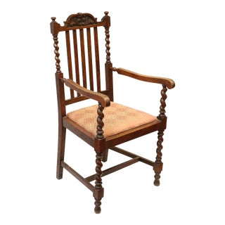 English Barley Twist Wooden High Back Armchair