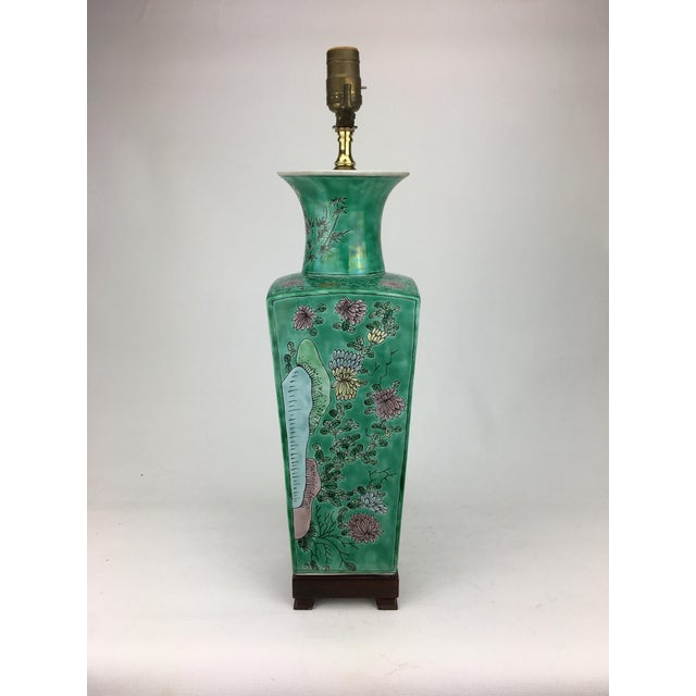 1970s Vintage Vase Lamp With Lotus Flowers For Sale - Image 4 of 4