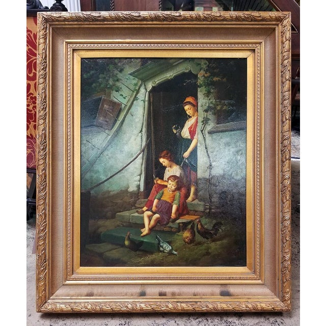 Old Master Style Oil on Canvas of Mother, Children and Poultry For Sale - Image 10 of 10