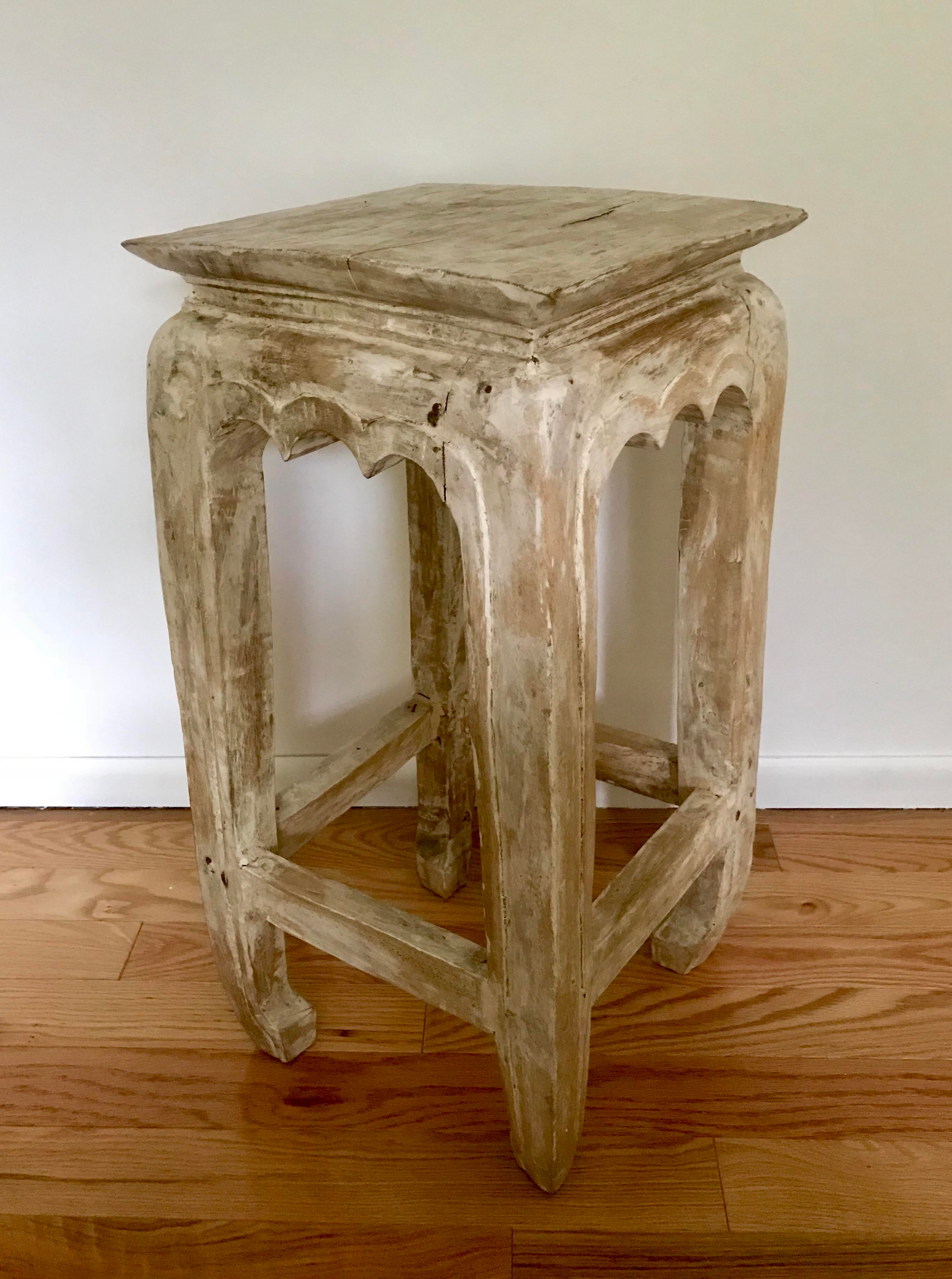 Bon A Very Unique Hand Carved Wood Side Table With Bleached Or Whitewashed  Patina. Local Pickups