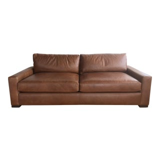 Contemporary Restoration Hardware Maxwell Leather Sofa