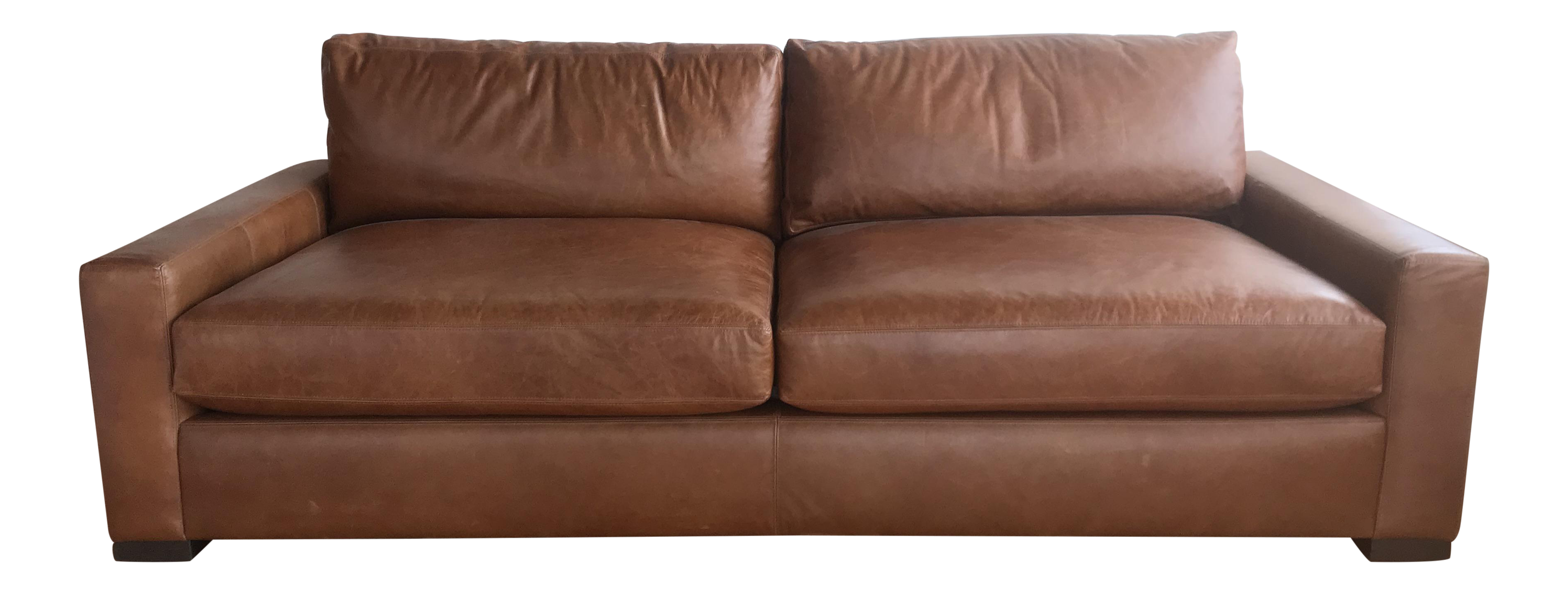 Contemporary Restoration Hardware Maxwell Leather Sofa   Image 1 Of 8