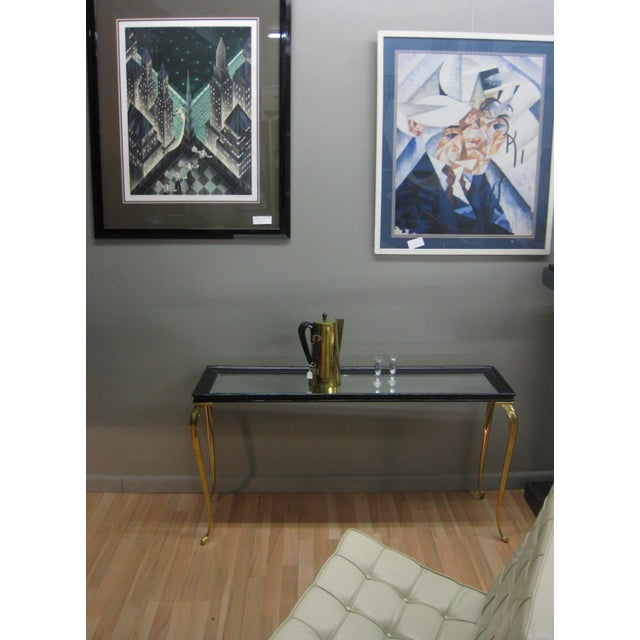 Brandt Solid Brass and Black Mirrored Console - Image 4 of 11