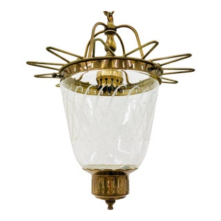 Antique Etched Glass & Brass Pendant Light For Sale