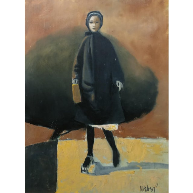 Girl with a Black Coat -1961 Mid century Modern Oil painting by Weber - Image 3 of 10
