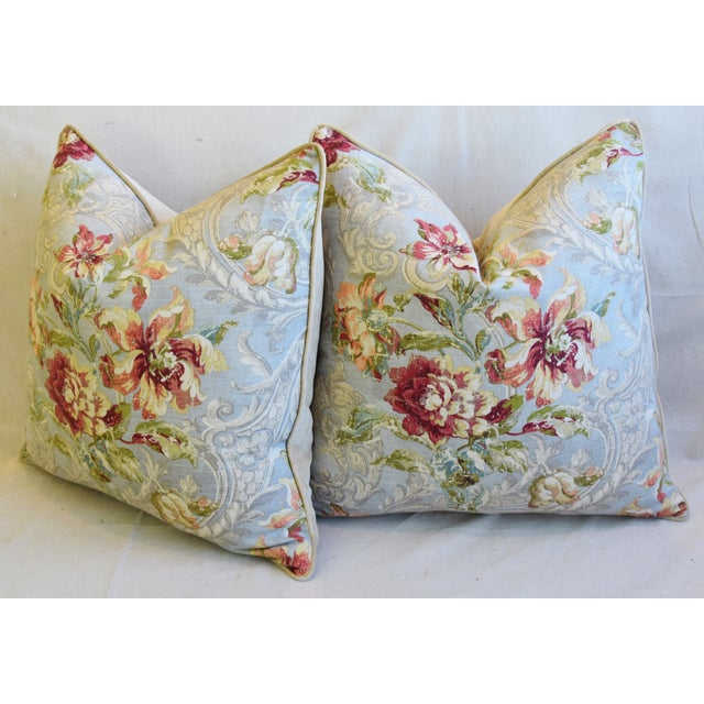 "French Floral Linen & Velvet Feather/Down Pillows 24"" Square - Pair For Sale - Image 9 of 13"