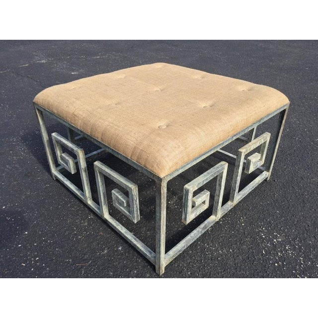 Hollywood Regency Greek Key Iron and Burlap Upholstery Ottoman/Coffee Table For Sale - Image 3 of 11