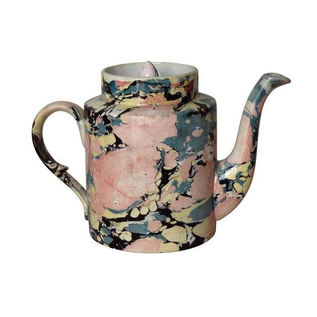 "A French Sarreguemines porcelain tea pot with cover. Circa 1880. Marked, ""Opaque de Sarreguemines"""