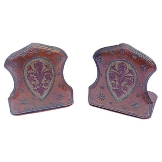 Antique Leather Fleur-De-Lis Bookends - A Pair
