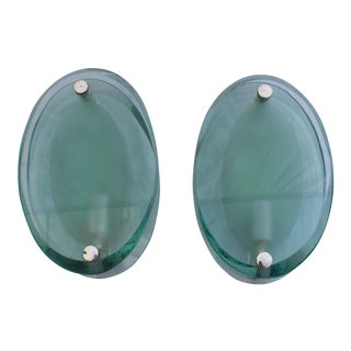 Art Deco Sconces Thick Glass Shades Single Candelabra Socket Style of Fontana Arte' - a Pair For Sale