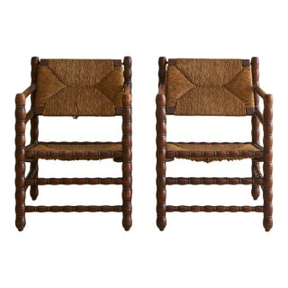 Pair of Antique Turned Wood + Rush Seat Chairs, France For Sale